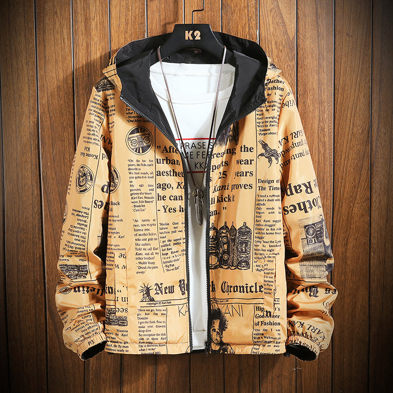 Men's Letter Print Hooded Bomber Jacket-slickwearapparel