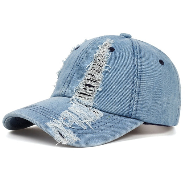 Women's Ripped Blue Denim Adjustable Hat - SlickWearApparel