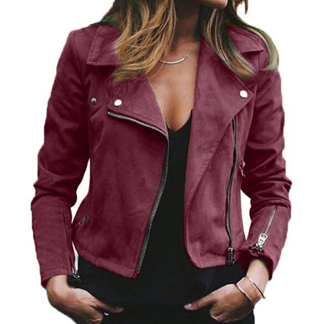 Ladies Short Style Long Sleeved Turned Down Collar Jacket-slickwearapparel