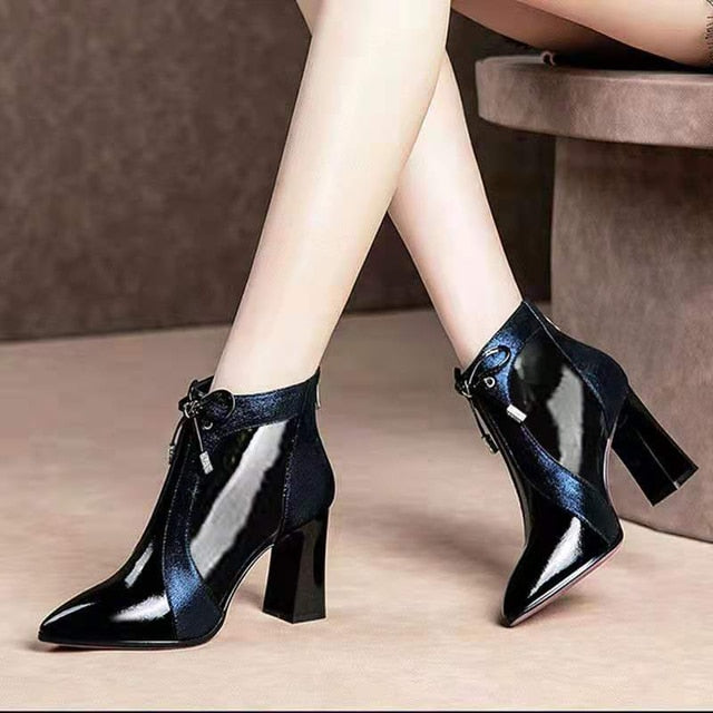 Women's Leather High Heeled Ankle Boots-slickwearapparel