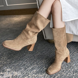 Women's Suede Apricot Color Mid Calf Slip On Boots - SlickWearApparel