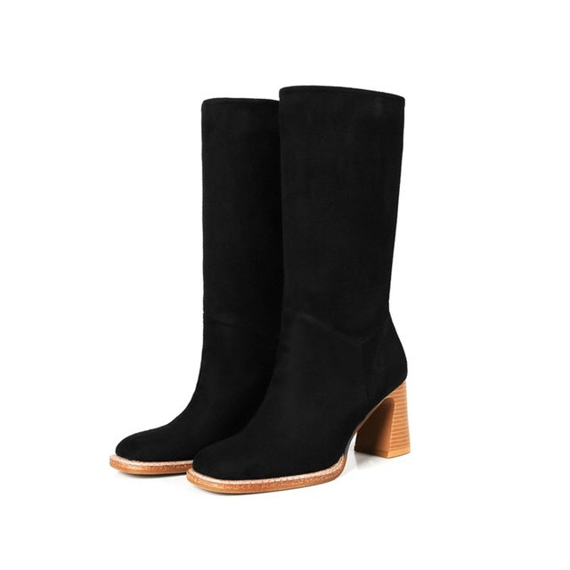womens-clothing-wear,Women's Suede Apricot Color Mid Calf Slip On Boots,SlickWearApparel, L.L.C ,