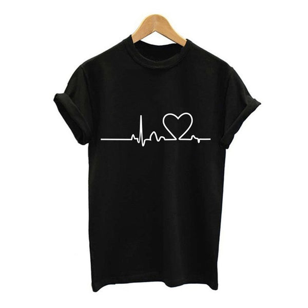 Heart T-Shirt for Women Casual White Tops - SlickWearApparel