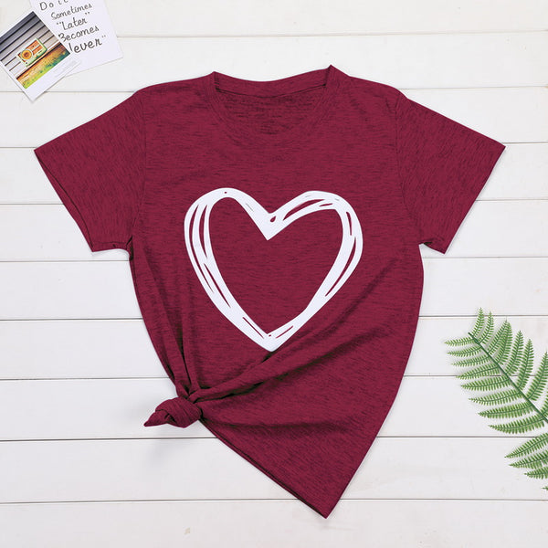 Heart Print Casual T-shirt Lady Short Sleeve Tops - SlickWearApparel