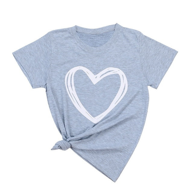 Heart Print Casual T-shirt Lady Short Sleeve Tops-slickwearapparel