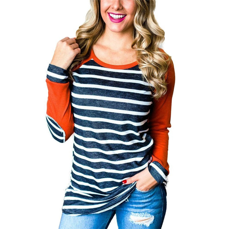 Stripe Casual Cotton Loose T-Shirt Pullover-slickwearapparel