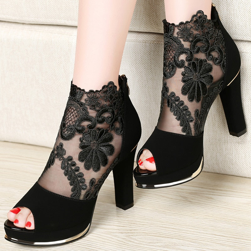 womens-clothing-wear,Women's Floral Design Squared High Heel Shoes,SlickWearApparel, L.L.C ,