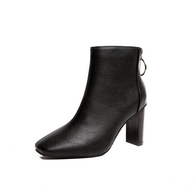 womens-clothing-wear,Leather High Heel Slip-On Ankle Boots,SlickWearApparel, L.L.C ,