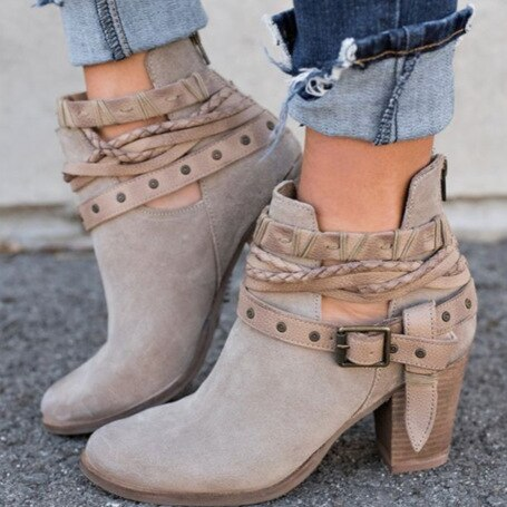 High Heel Flock Boot With Lace Buckle Strap - SlickWearApparel