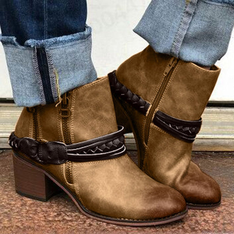 Classic Retro Short Leather Ankle Boots - SlickWearApparel
