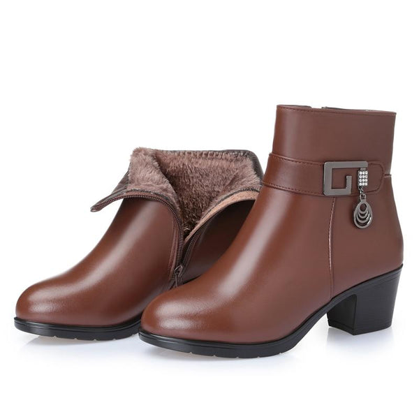 2020 Genuine Leather Brown Warm Winter Boots