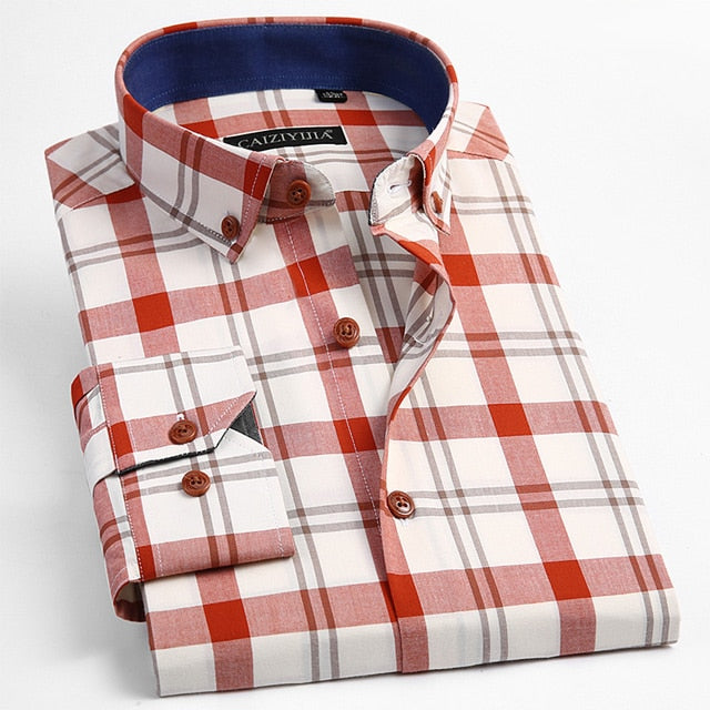 Long Sleeve Contrast Plaid Checkered Shirt-slickwearapparel