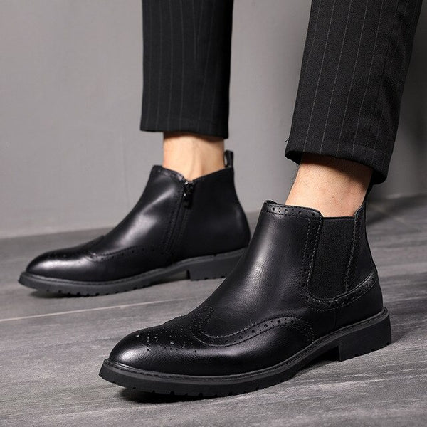 Men's Leather Chelsea Fashion Ankle Boots-slickwearapparel