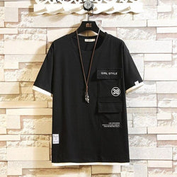 Men's T-shirts O-neck Two Pockets Solid Short Sleeve Shirt