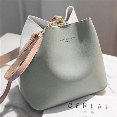Women's Pouch Contrast Casual Female PU Leather Bag