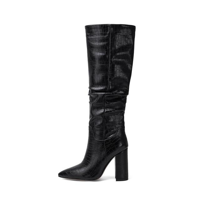 New Knee High Pleated Square Heeled Pointed Toe Boots - SlickWearApparel