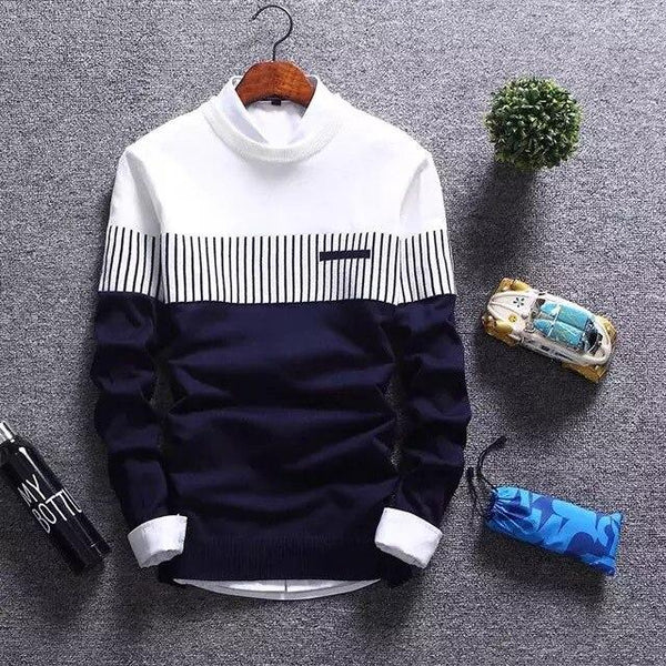 Slim Striped Knitted Sweaters Men's