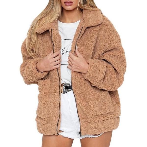New Winter Turned Down Collar Teddy Coat