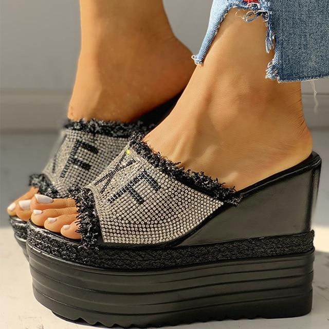 New Style Designer Sandal with Crystals Wedges - SlickWearApparel