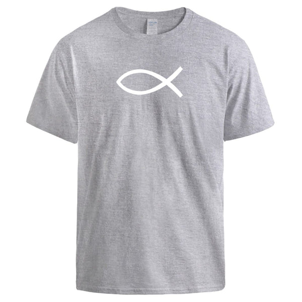 Jesus Fish Simple Printing T-Shirts