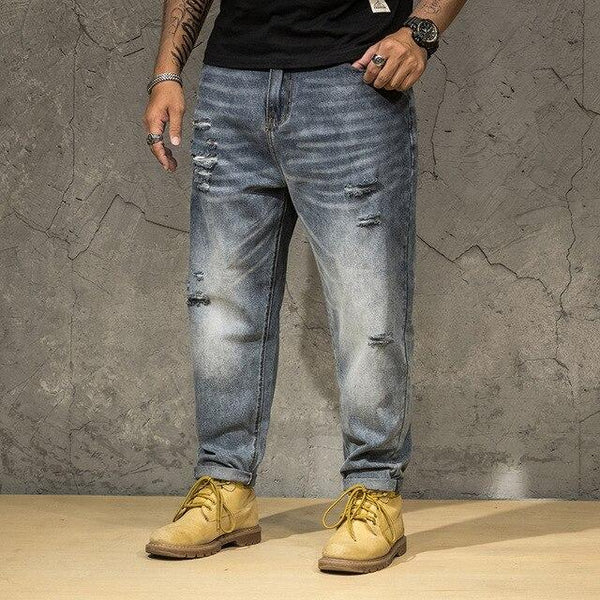 Ripped Jeans Men Vintage Pant Holes Denim