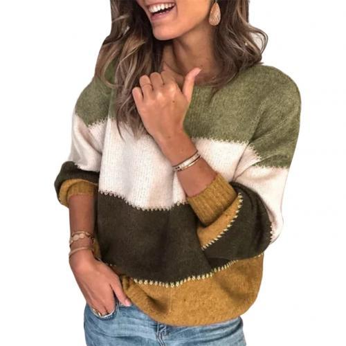 Fashionable Women's Striped Knitted Loose Sweater - SlickWearApparel