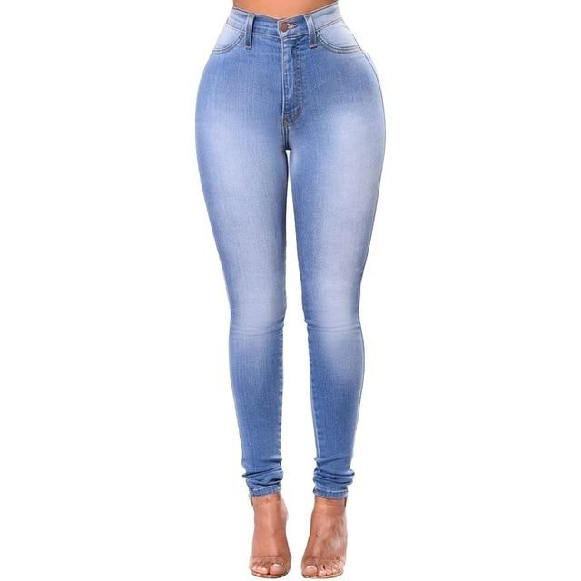 Button Fly Light Wash Pencil Jeans - SlickWearApparel