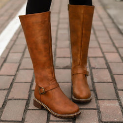 Vintage Leather Square Heel knee Height Buckle Boot - SlickWearApparel