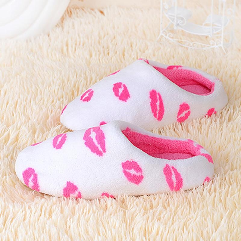White with Pink Lips Designer Non-Slip Soft Slippers - SlickWearApparel