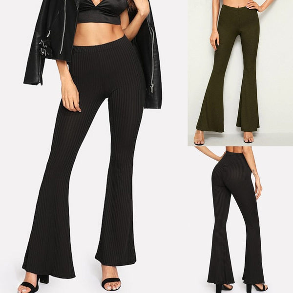Casual Solid Loose High Wide Leg Pants