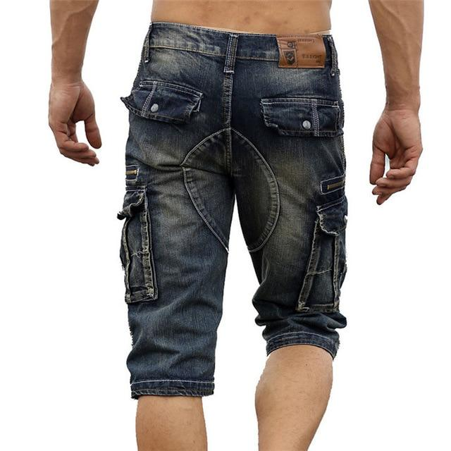 Vintage Men's Fashion Cargo Denim Shorts With Multi Pockets