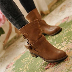 Women's Buckle Strap Brown Square Heeled Pullover Boots - SlickWearApparel