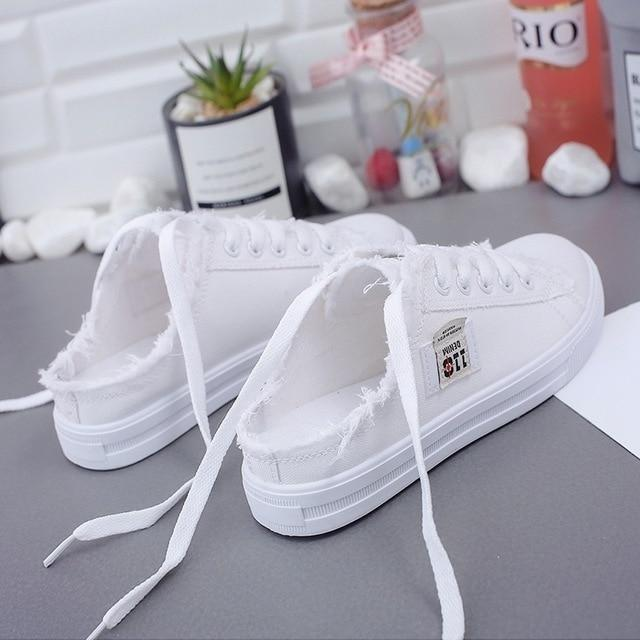 New 2020 Spring Summer Women Canvas Shoes flat sneakers women casual shoes low upper lace up white shoes - SlickWearApparel