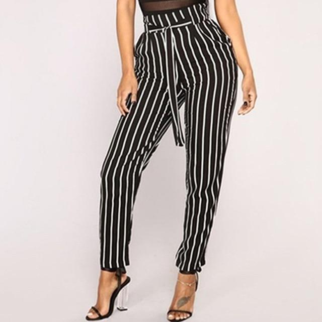 New Striped OL Chiffon High Waist Harem Pants - SlickWearApparel