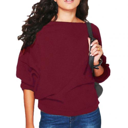 Women's Knitting Sweater O-Neck Pullover Jumper