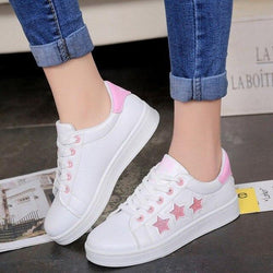Ladies Comfort White Tennis Shoes With Star Patterns - SlickWearApparel