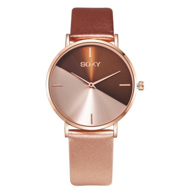 Leather Rose Gold Brand Design Women Watches - SlickWearApparel