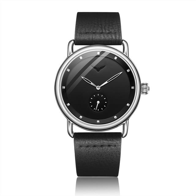 Stainless Steel Leather Band Round Wristwatch - SlickWearApparel