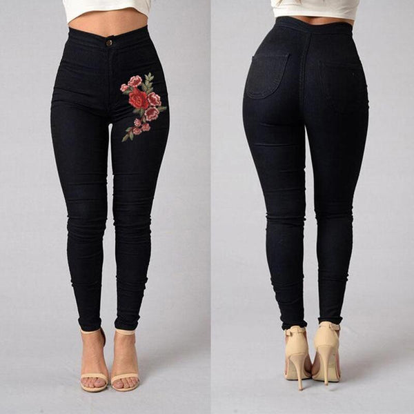 Embroidery Flower Stretch Pencil Pants
