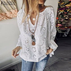 Fashion Hollow V-Neck Stylish ZanZea Blouse