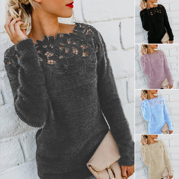 Floral Lace Pullover Soft Designer Sweater - SlickWearApparel