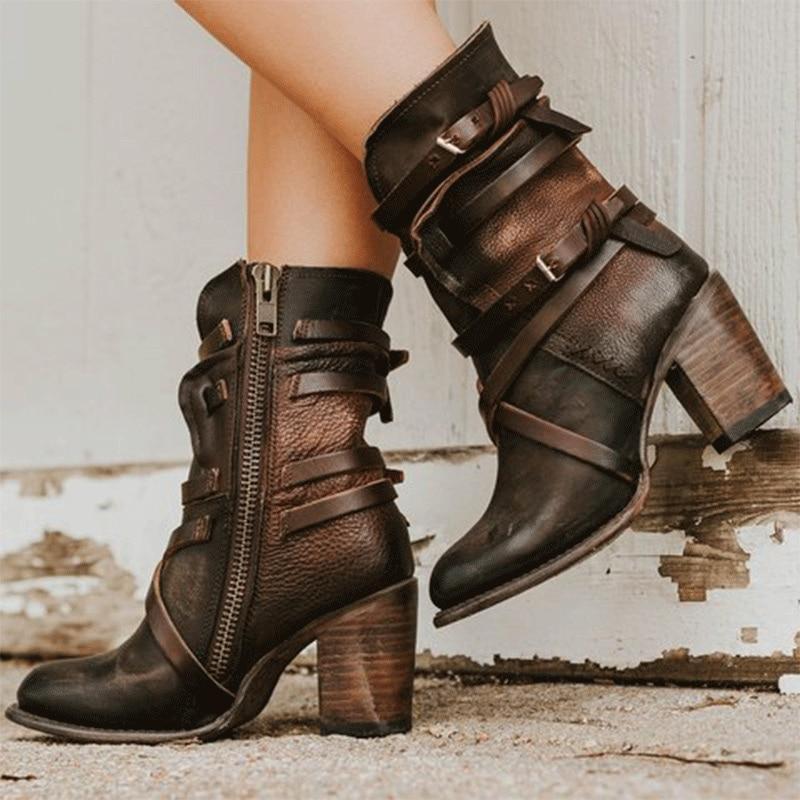 Women's Ankle Leather Buckle Strap High Heels Shoes