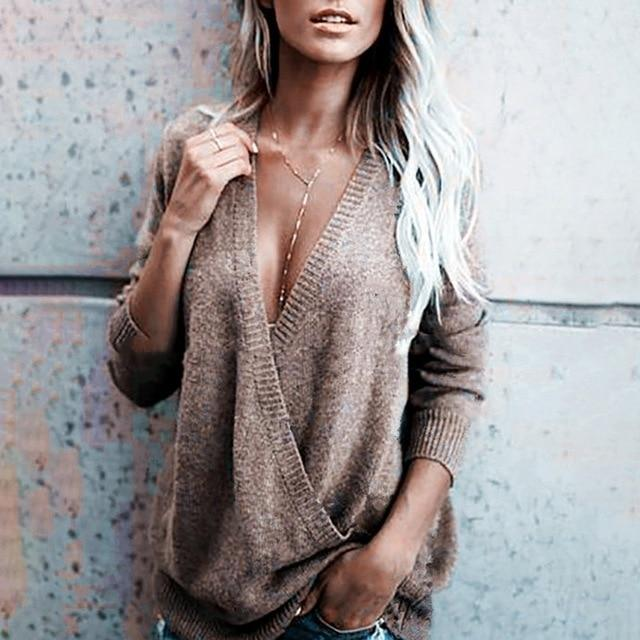 Women's Long Sleeved Cross Over V-Neck Loose Sweater - SlickWearApparel