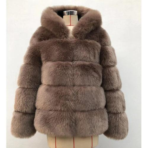 2020 Thick Faux Fur Hooded Long Sleeve Winter Coats
