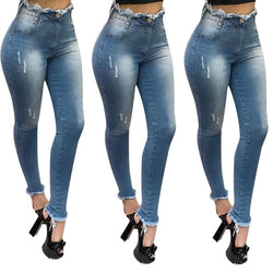Women's High Waist Skinny Jeans Ladies Casual Denim - SlickWearApparel