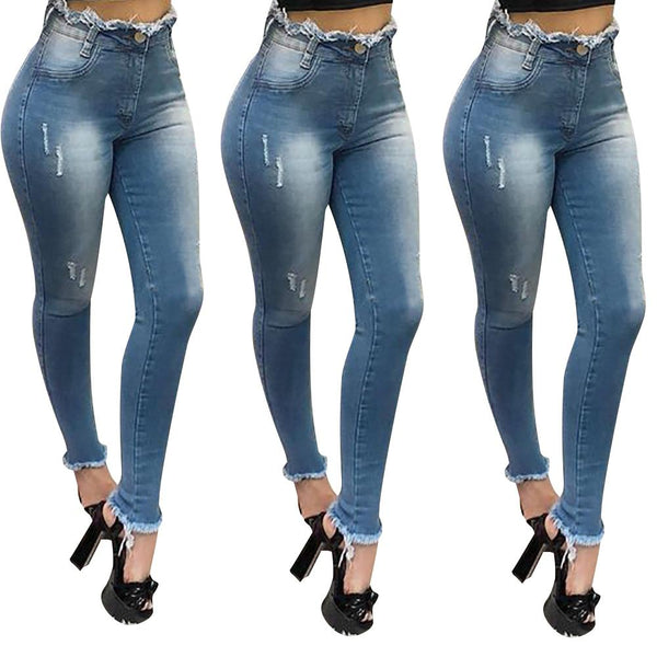 Women's High Waist Skinny Jeans Ladies Casual Denim
