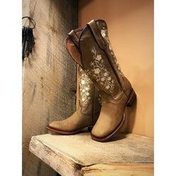 Causal Embroidery Leather Low Heel Cowboy Style Boots