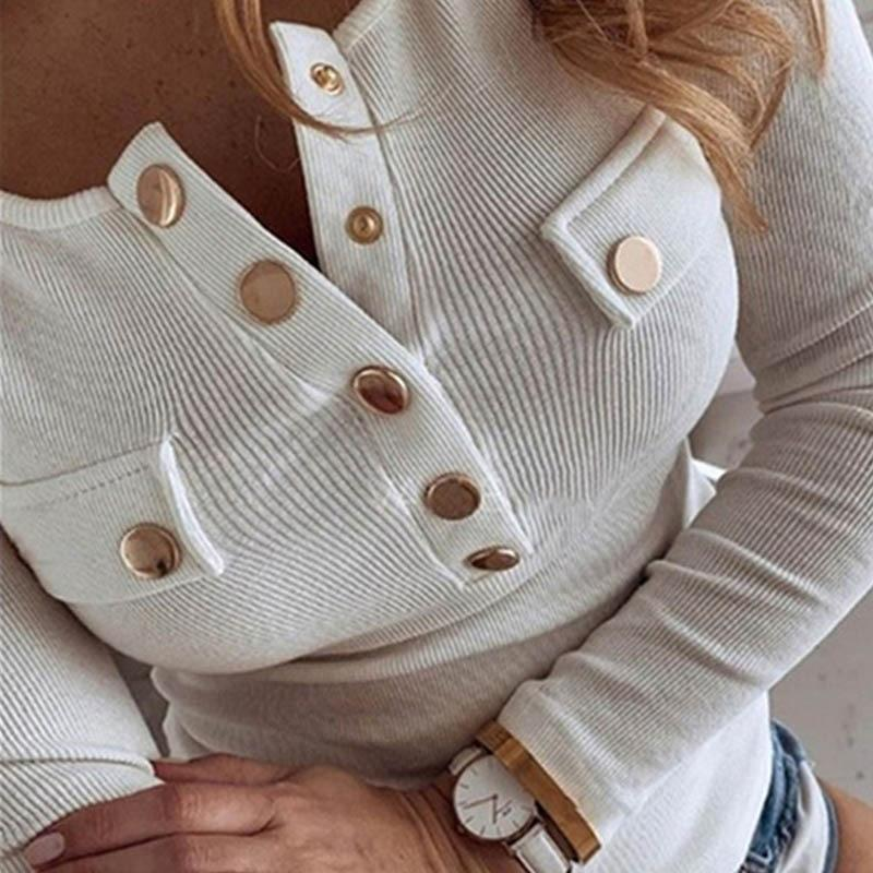 Casual Long Sleeve Women's Blouse w/ Buttons - SlickWearApparel