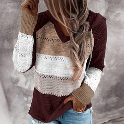 Casual Hooded Long Sleeve Stitching Striped Pullover