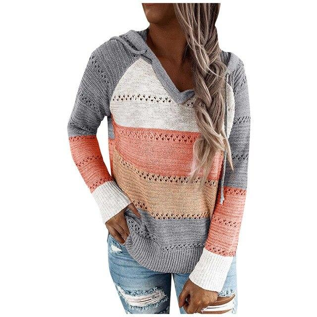 Casual Hooded Long Sleeve Stitching Striped Pullover - SlickWearApparel